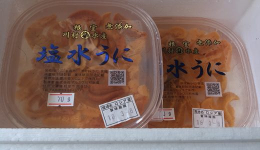 北海道根室市 根室海鮮市場<直送>エゾバフンウニ塩水パック70-80gx2P